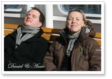 Daniel och Anne på Djurgårdsfärjan